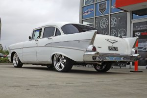 57 CHEV WITH AMERICAN RACING WHEELS  |  | CHEVORLET